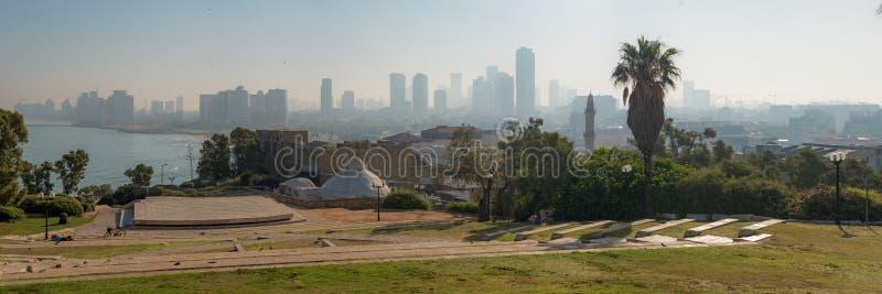 Panorama of the city of Tel Aviv from Abrasha Park across the ba stock image