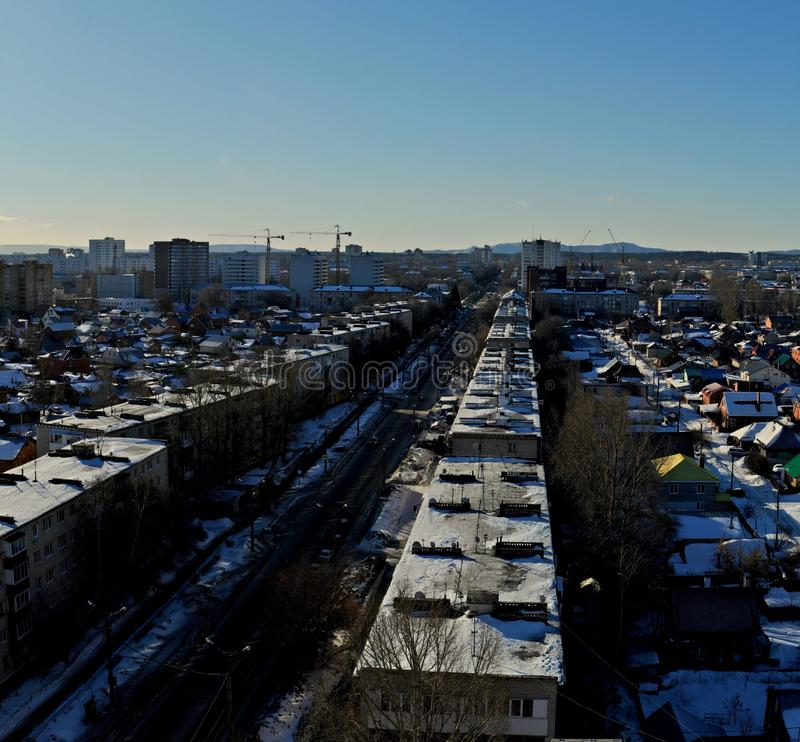 Panorama  of the city of Togliatti overlooking Lenin Street in the rays of the morning sun. royalty free stock photo