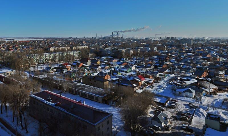 Panorama  of the city of Togliatti overlooking Lenin Street in the rays of the morning sun. stock photos