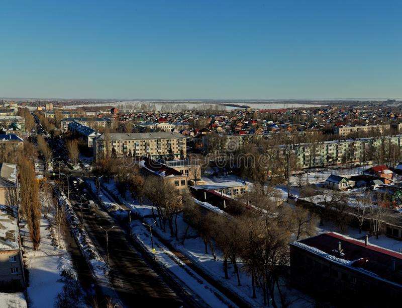 Panorama  of the city of Togliatti overlooking Lenin Street in the rays of the morning sun. royalty free stock images