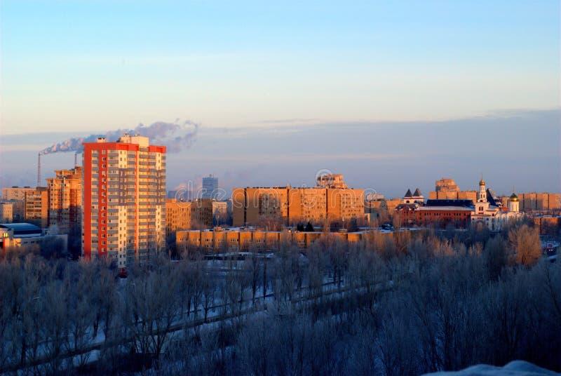 Panorama of the city of Togliatti overlooking the Volga Orthodox Institute. royalty free stock photo