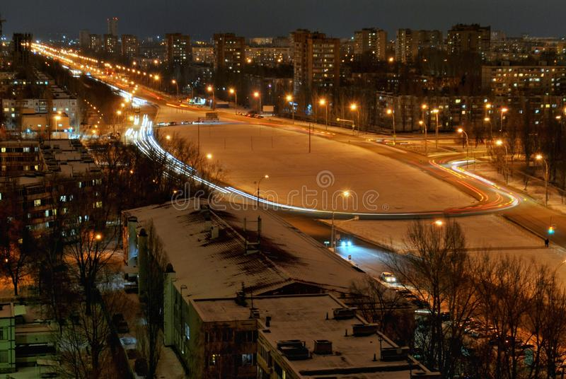 Panorama of the city of Togliatti on a winter evening with a view of Stepan Razin Avenue from the height of the 16th floor. stock photography