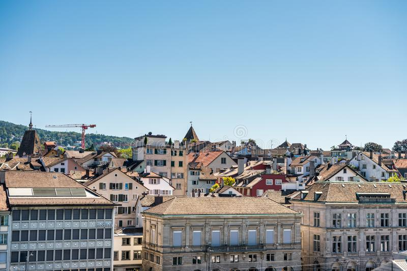 Panorama of city view from the hill of Lindenhof of the of old downtown of Zurich city, with beautiful house at the bank of Limmat stock photography
