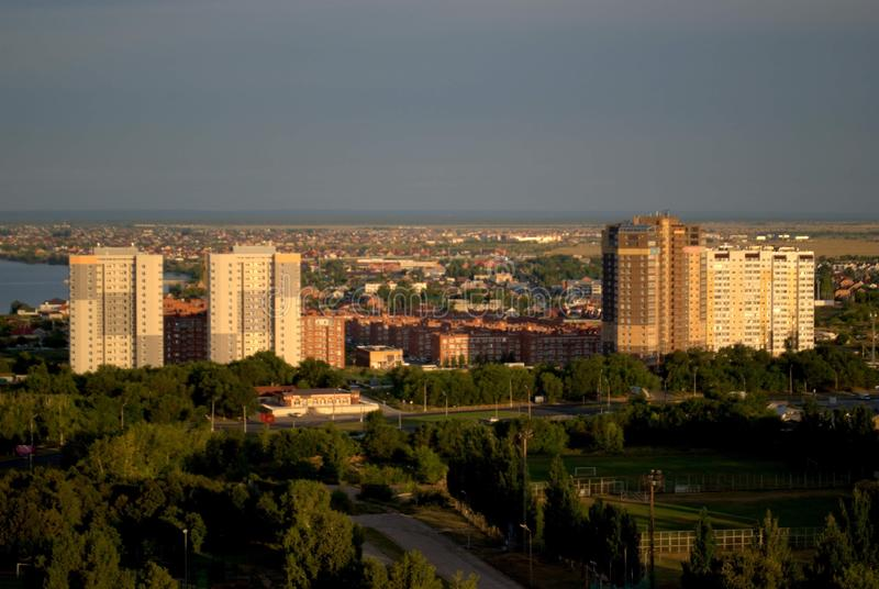 Panorama of the city with a view of the residential quarters on the banks of the Volga River. Tolyatti, Samara Region, Russia - August 14, 2018: Panorama of the royalty free stock photography