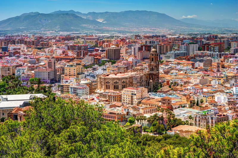 Panorama cityscape aerial view of Malaga, Spain. royalty free stock images