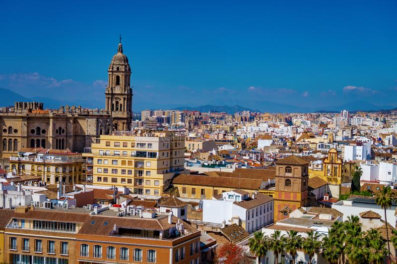 Panorama cityscape aerial view of Malaga, Spain. Santa Iglesia Cathedral Basilica of Lady of Incarnation. And the city royalty free stock photography