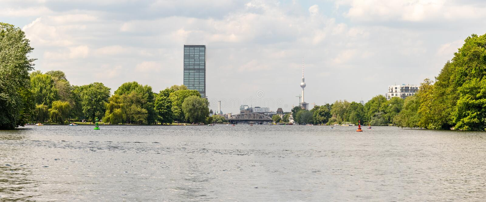Panorama with cityscape of Berlin royalty free stock photos