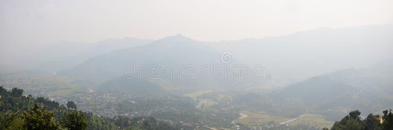 Panorama Cityscape of Pokhara look at on World Peace Pagoda stock image