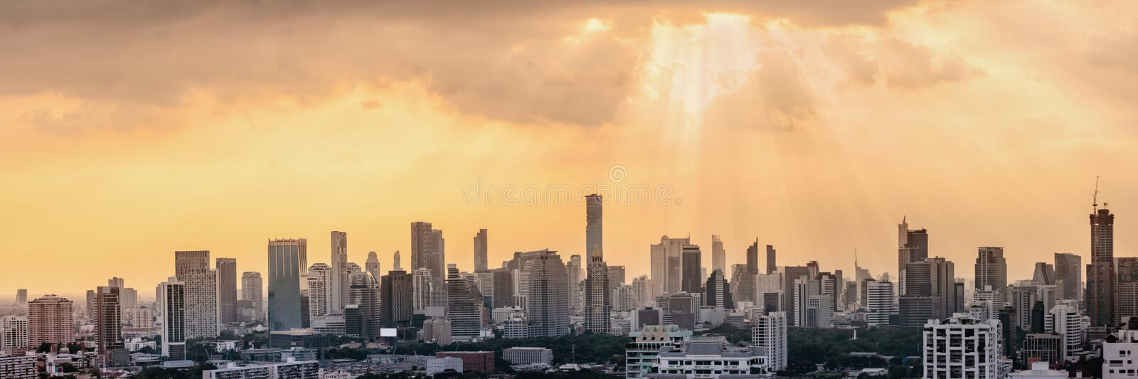 Panorama cityscape scenery of business and financial center of Bangkok the capital city of Thailand royalty free stock images