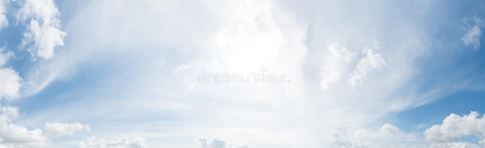 Panorama of clear blue sky with white cloud background. Clearing day and Good weather in the morning.  stock photography
