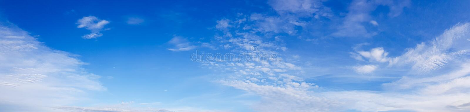 Panorama of clear blue sky with white cloud background. Clearing day and Good weather in the morning royalty free stock images
