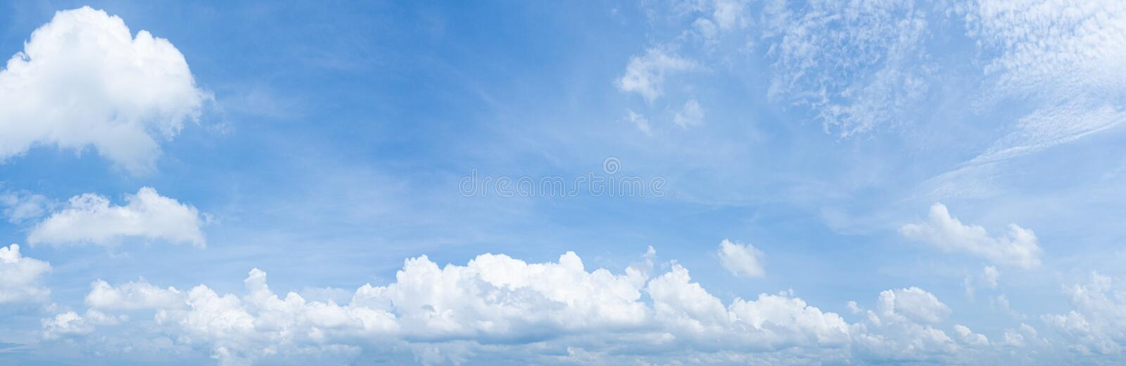 Panorama of clear blue sky with white cloud background. Clearing day and Good weather in the morning royalty free stock image