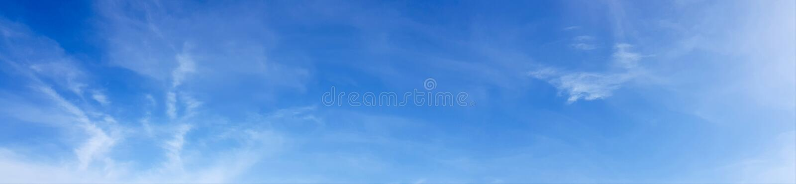 Panorama of clear blue sky with white cloud background. Clearing day and Good weather in the morning stock photography