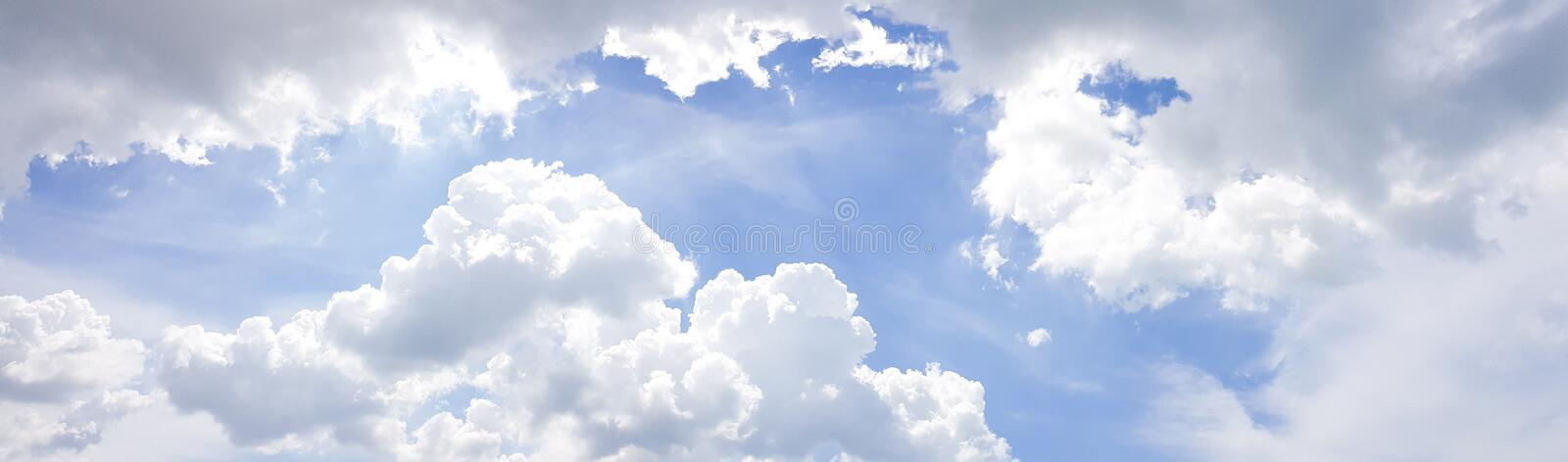 Panorama of clear blue sky with white cloud background. Clearing day and Good weather in the morning stock image