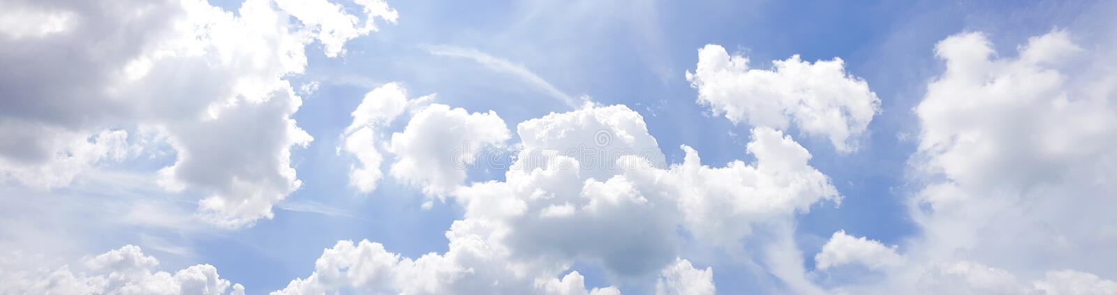 Panorama of clear blue sky with white cloud background. Clearing day and Good weather in the morning stock images