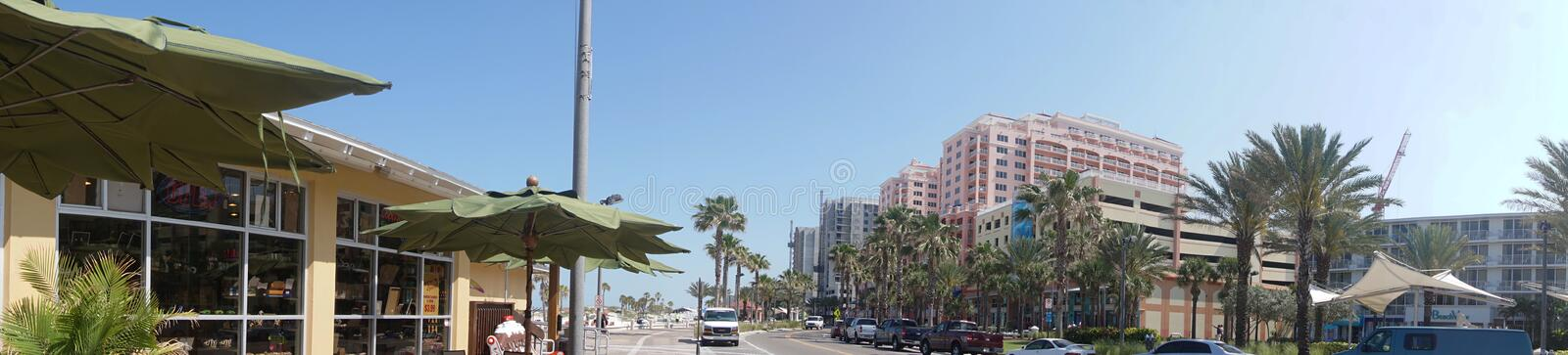 Panorama at Clearwater Beach Florida. Downtown at Clearwater Beach area royalty free stock photography