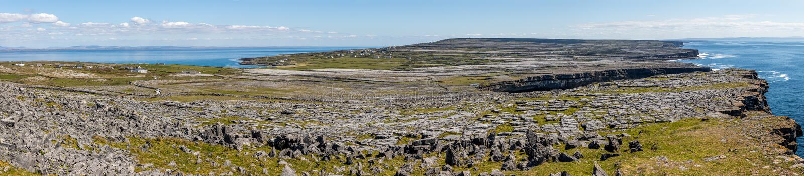 Panorama with Cliffs, Farms, rocks and vegetation in Inishmore with ocean in background. Aran Islands, Ireland stock image
