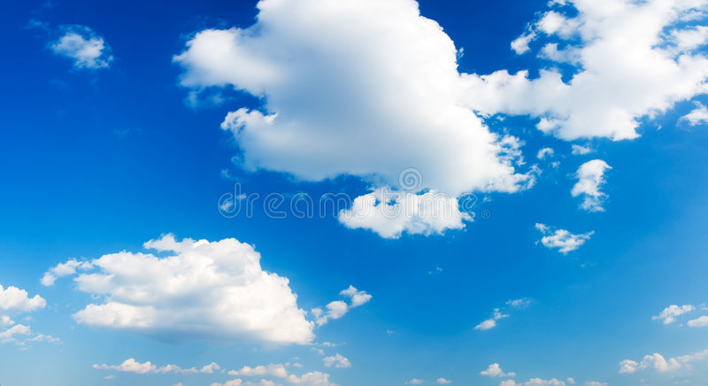 Panorama of cloudy sky. Panorama of blue cloudy sky (can be used how background or wallpaper stock photo