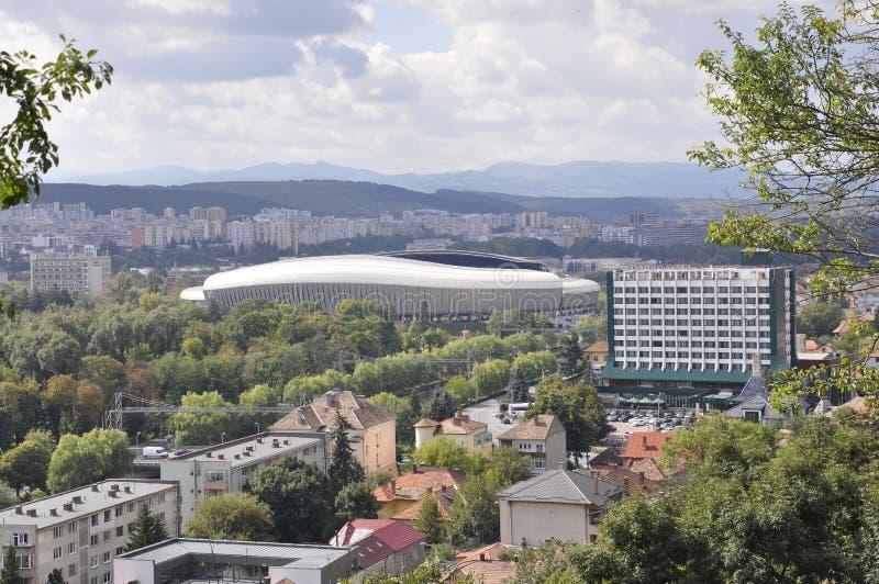 Panorama with Cluj Arena Stadium of Cluj-Napoca town from Transylvania region in Romania stock photo