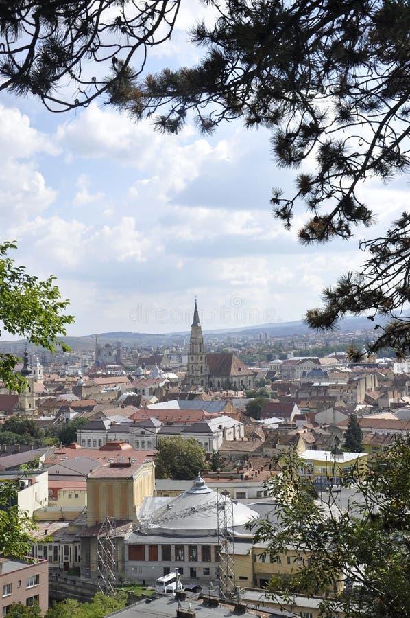 Panorama of Cluj-Napoca town from Transylvania region in Romania royalty free stock photos