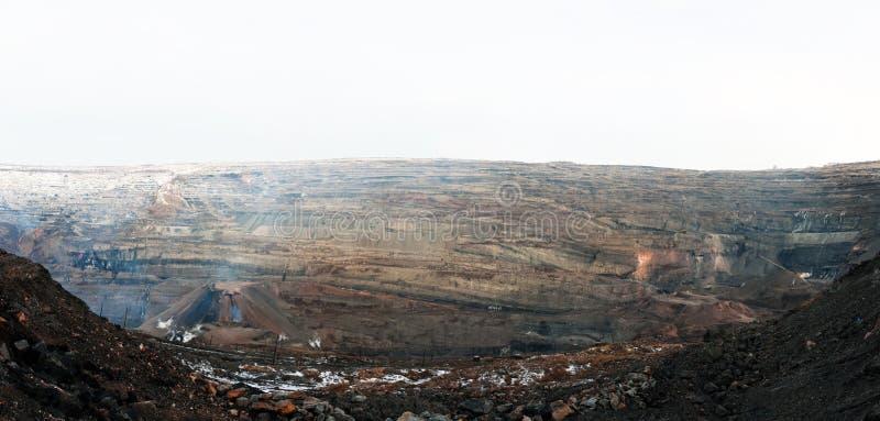Panorama of a coal quarry stock photography