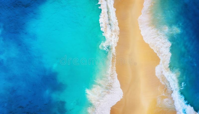 Panorama of a coast as a background from top view. Turquoise water background from top view. Summer seascape from air. Nusa Penida. Island, Indonesia. Travel stock photo