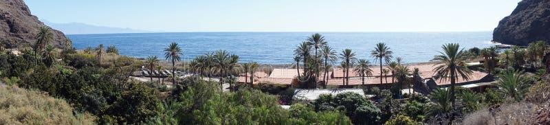 Panorama of coast. Panorama of roofs on the coast of La Gomera island, Spain stock photo