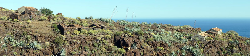 Panorama of coast. Panorama of ruined houses on the La Gomera island, Canary island, Spain stock photos
