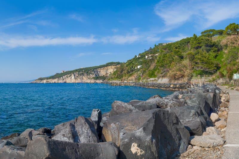 Panorama of coast and sea taken from the port of Massa Lubrense. Near Sorrento stock photo