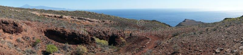 Panorama of coast. Panorama of the south coast of La Gomera island, Canary islands, Spain royalty free stock photo