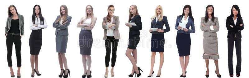 Panorama- collage av en grupp av lyckade unga aff?rskvinnor arkivbilder