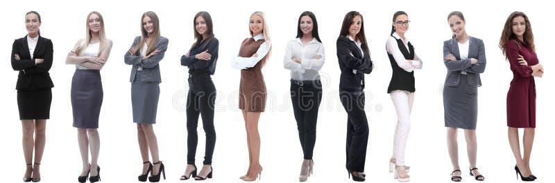 Panorama- collage av en grupp av lyckade unga aff?rskvinnor arkivfoton