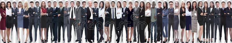 Panorama- collage av en grupp av lyckat ungt affärsfolk arkivbild