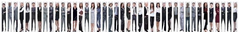 Panorama- collage av en grupp av lyckat ungt aff?rsfolk arkivbild