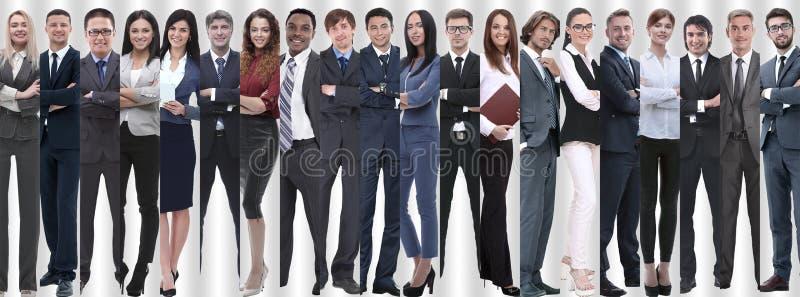 Panorama- collage av grupper av lyckade anställda arkivbild