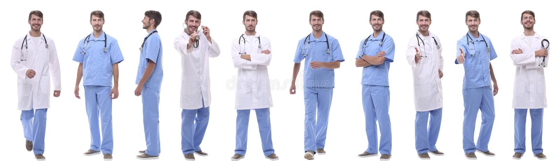 Panorama- collagegrupp av medicinska doktorer Isolerat på vit arkivbild