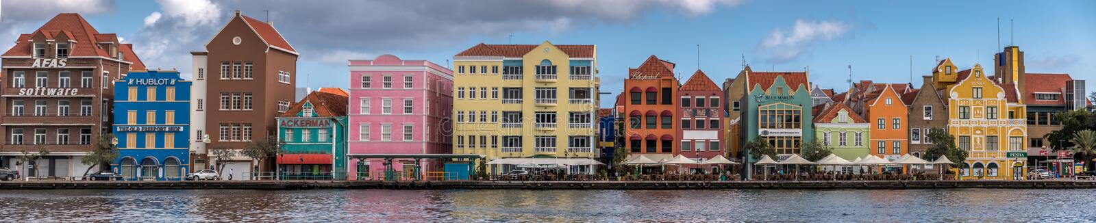 Panorama of the colonial Dutch houses Willemstad stock photography