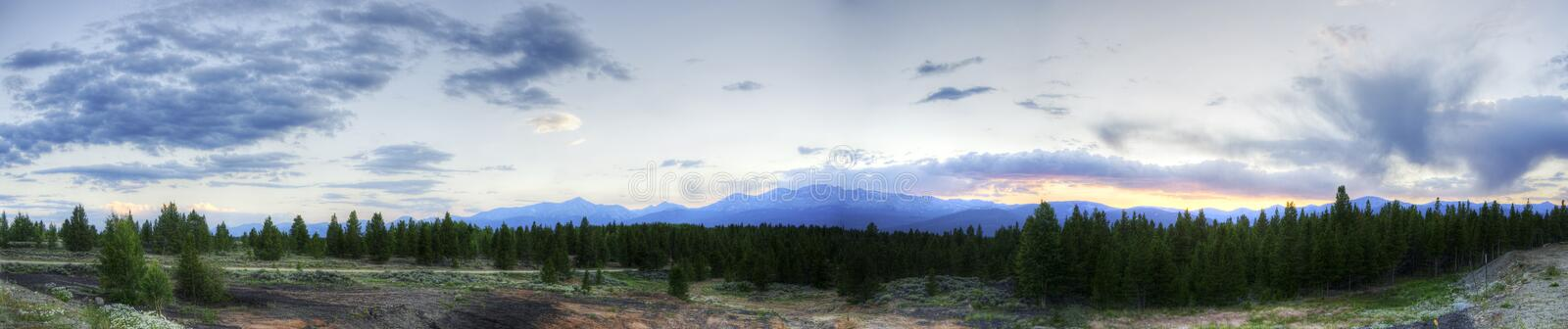 Panorama of Colorado Rockies. At Sunset in the Summer stock image