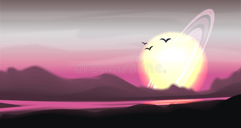 Panorama coloreado fantástico, paisaje del vector de la fantasía Ejemplo del planeta de la fantasía Fondo de la ciencia ficción d ilustración del vector