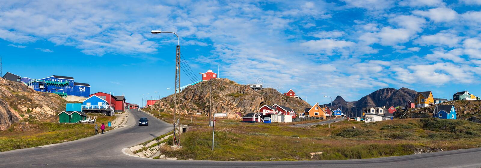 Panorama of Colorful building and houses in Sisimiut, Greenland. stock photo