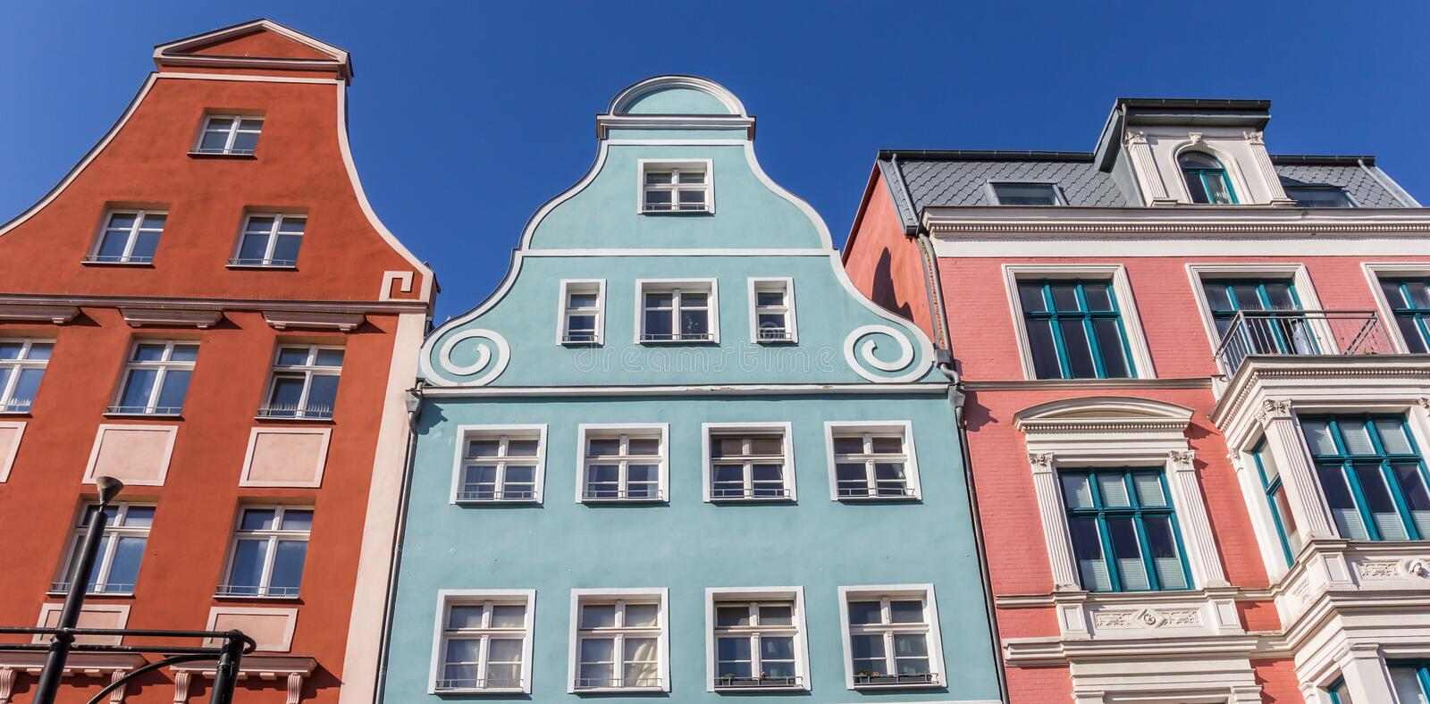 Panorama of colorful facades in Hanseatic city Rostock royalty free stock images