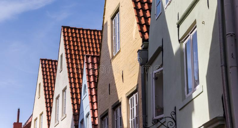 Panorama of colorful facades in the Schnoor district of Bremen. Germany stock image