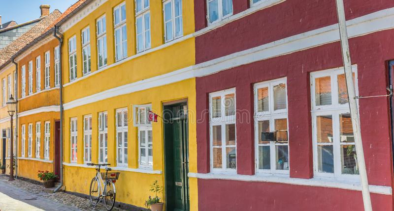 Panorama of colorful houses in the historic center of Ribe stock photo