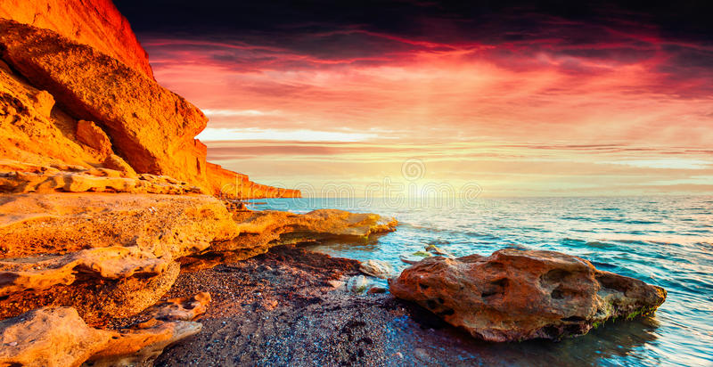 Panorama of the colorful sunrise royalty free stock photo