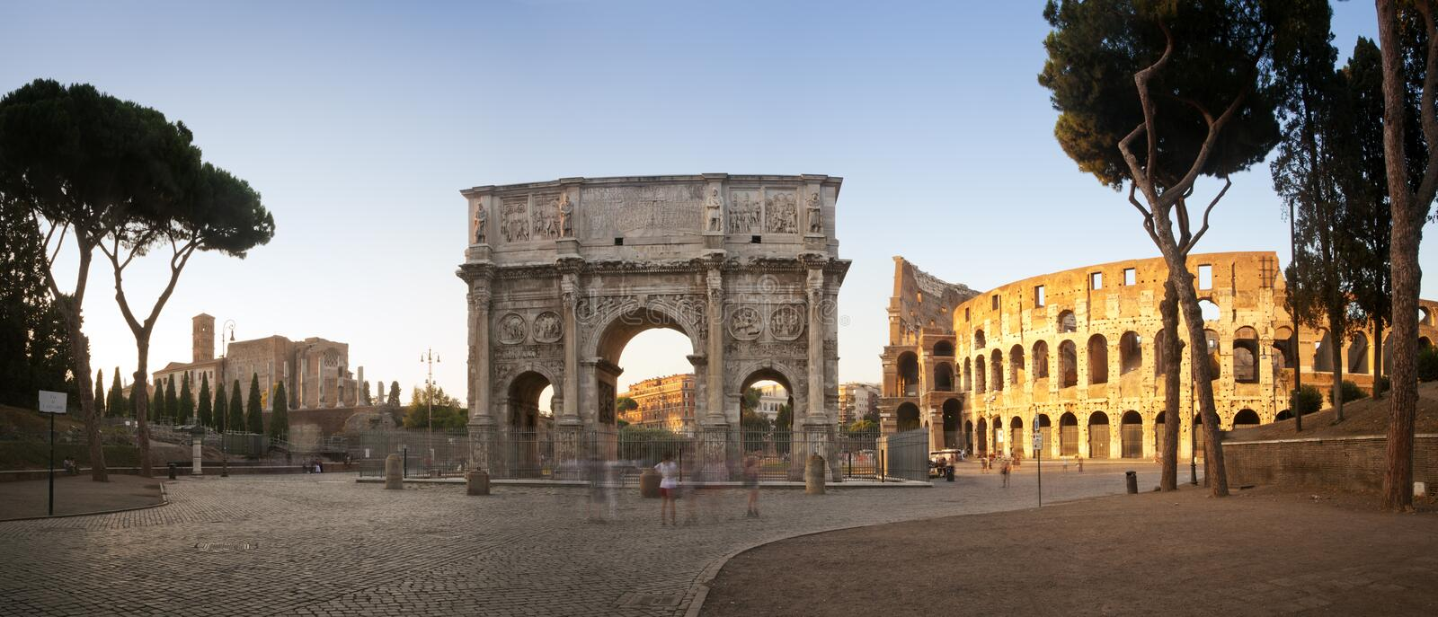 Panorama of the Colosseum and Arch of Constantine royalty free stock images