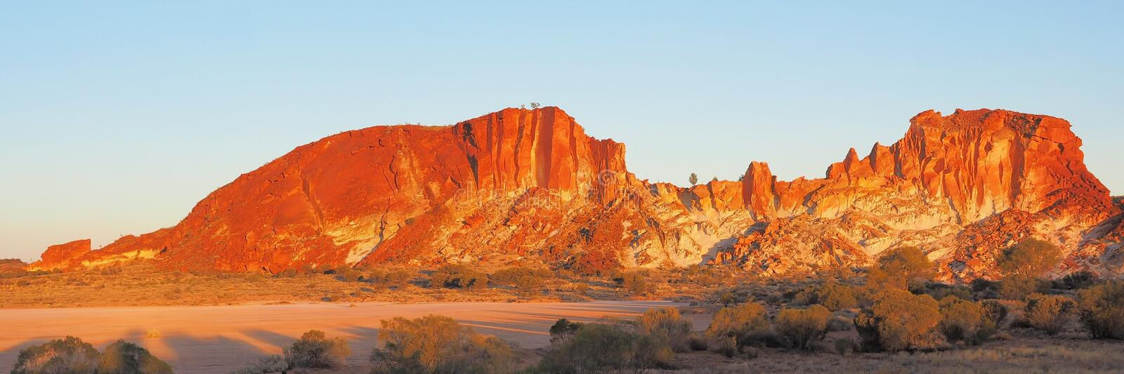 Panorama of the colourful cliffs at Rainbow Valley. In the evening sun, Northern Territory, Australia 2017 royalty free stock photography