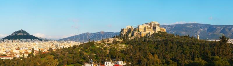 Panorama com a acrópole em Atenas, Grécia imagem de stock