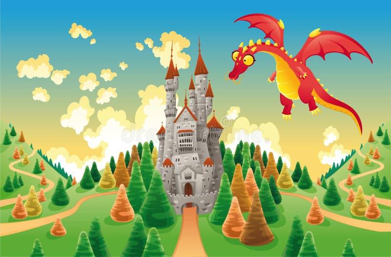 Panorama com castelo e o dragão medievais. ilustração royalty free
