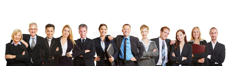Panorama com equipe e executivos do negócio fotos de stock royalty free