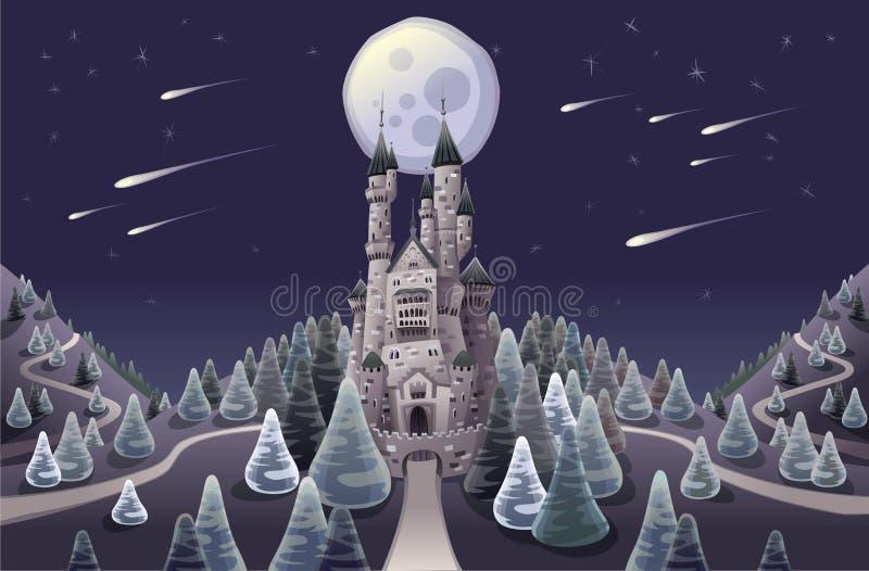Panorama com o castelo medieval na noite ilustração do vetor